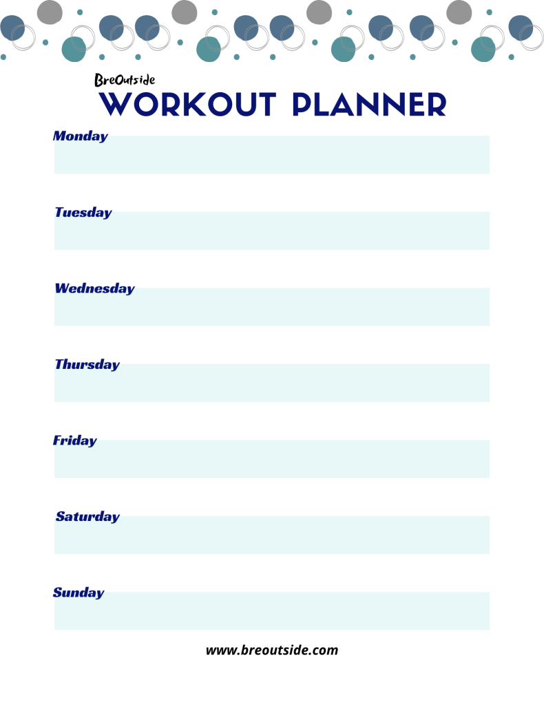 blue and white workout planner.