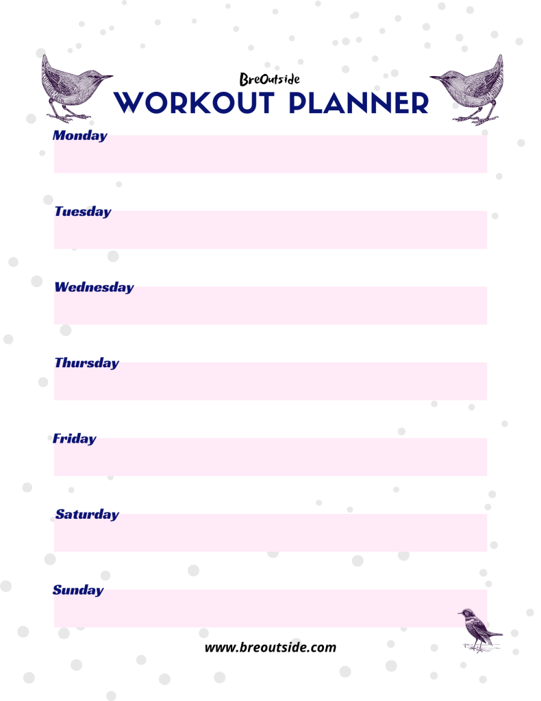 Purple, pink and white workout planner with birds.