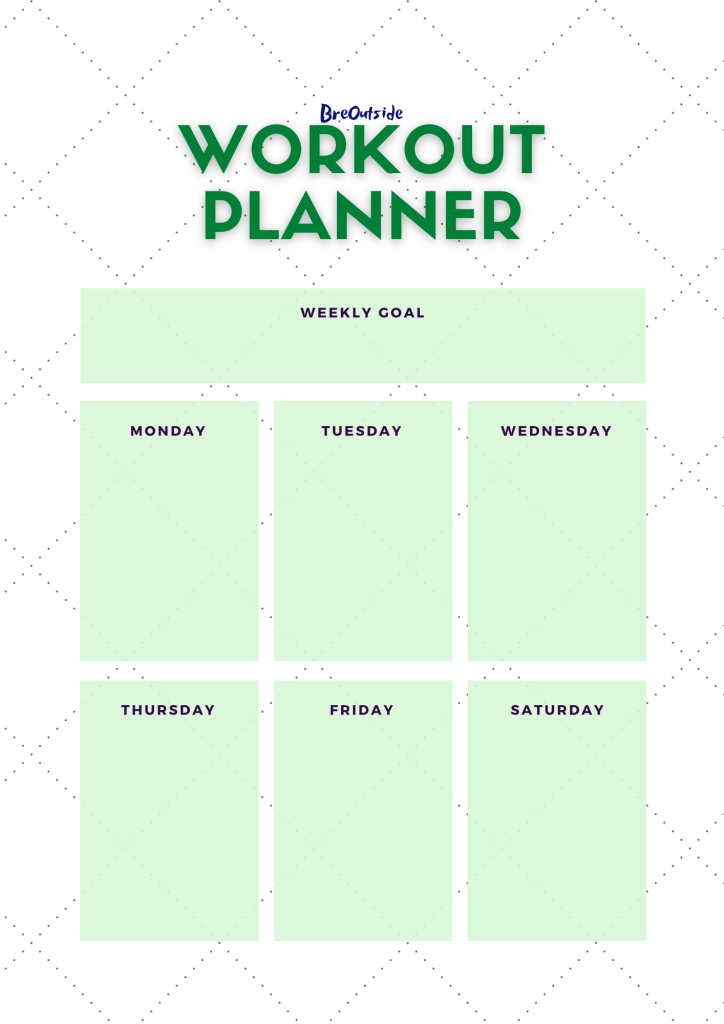 Workout planner, weekly, green and white.