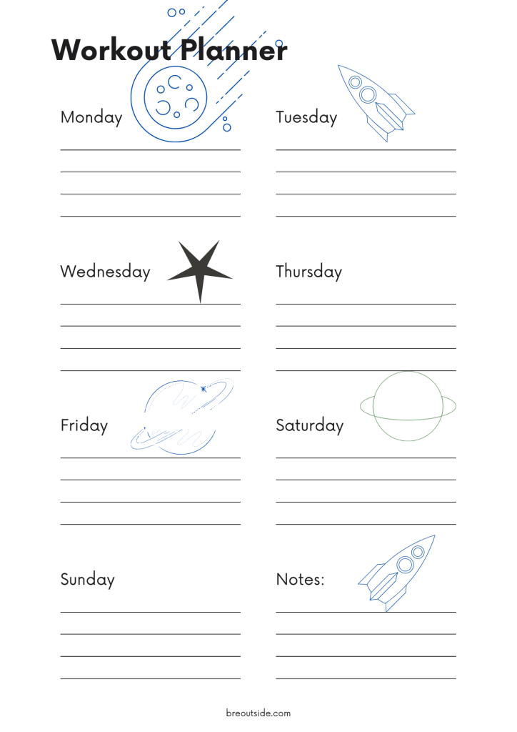 Space themed weekly workout planner with a meteor, spaceship, star and two planets.